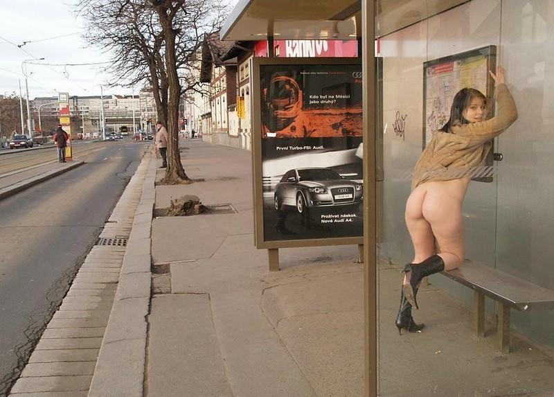 Nude on street