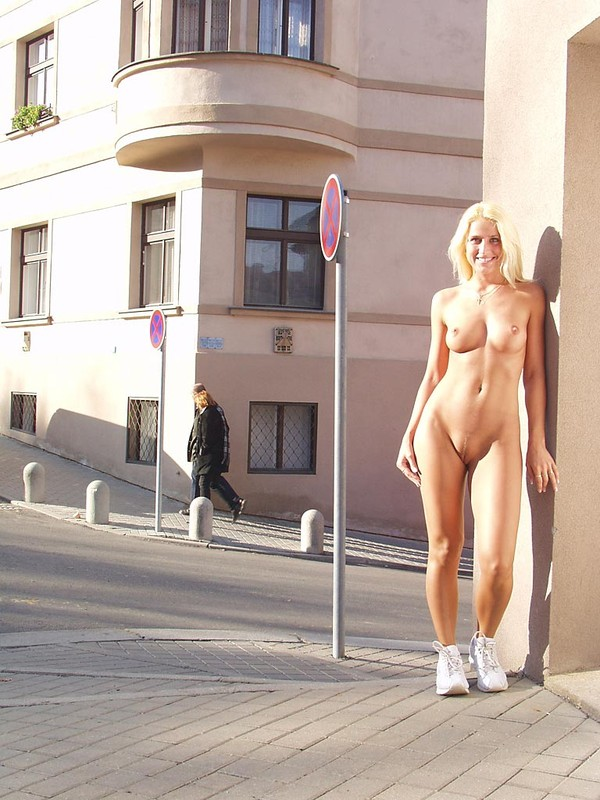 Blond naked in public