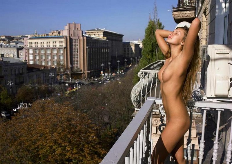 Young girl on balcony