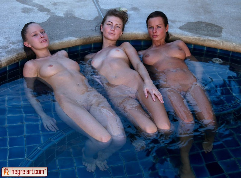 Three girl in the pool
