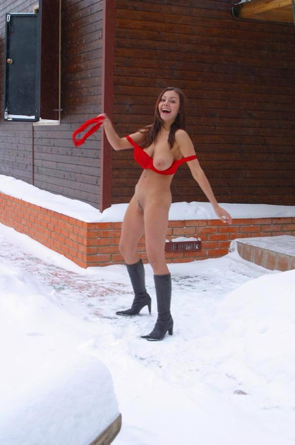 Naked on snow in red lingerie