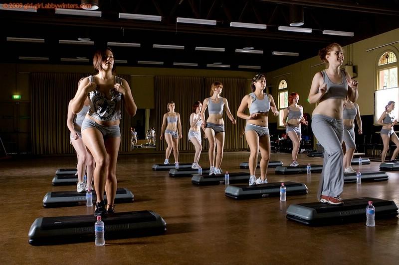 Nude step aerobics
