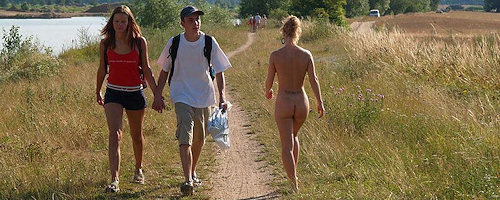 Nude walk to the lake