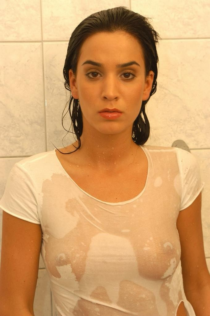 Brunette in wet shirt