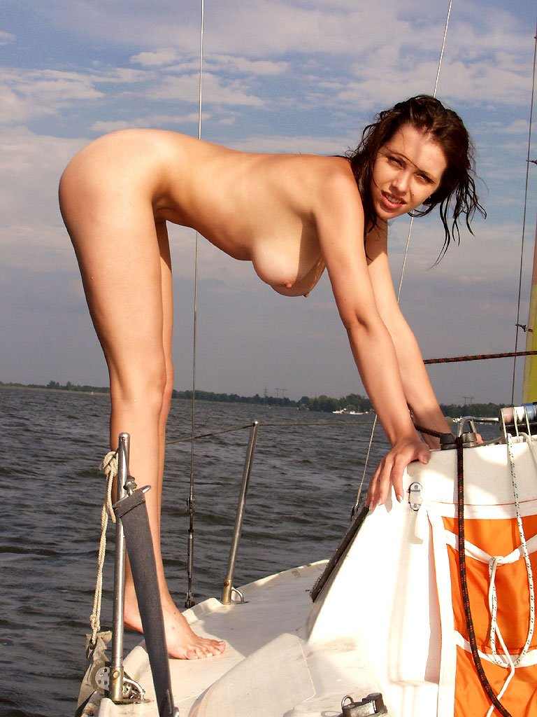 Naked girl on yacht