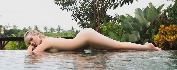 Alana Wolfe in garden pool