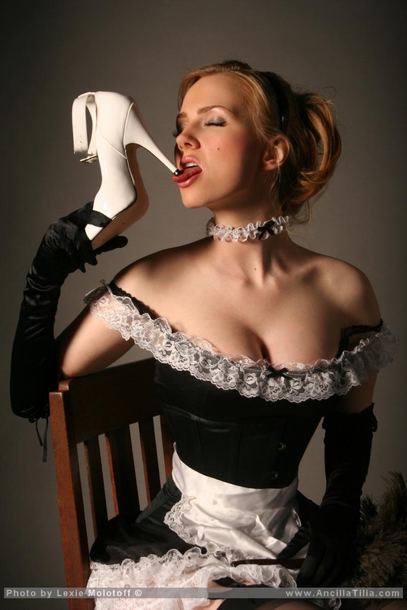 big tit blonde french maid