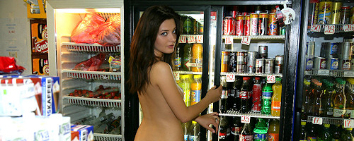 Anna Tatu naked in grocery shop