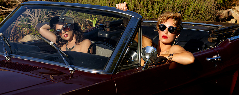 Ariana Marie & Nicole Aniston – Classic Ford Mustang Convertible