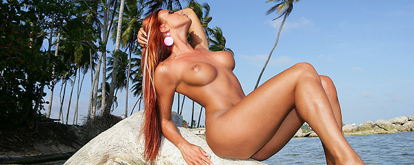 Ashley Bulgari on tropical island
