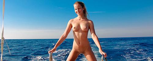 Belinda naked on boat