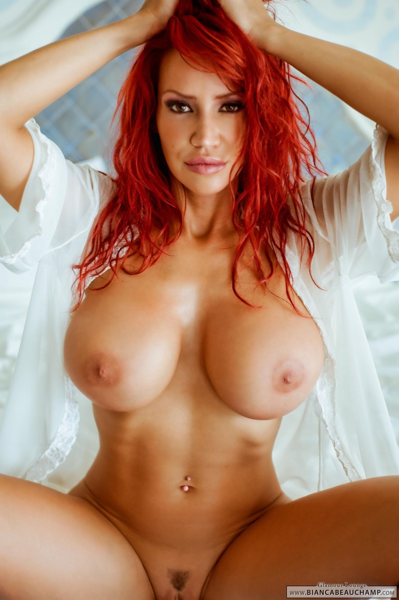 Shine fiery redhead with big tits dildos herself was specially