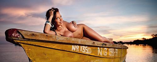 Bianca Beauchamp posing at the shore