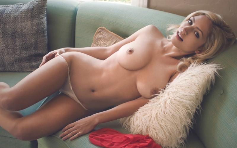 Sexy naked blonde perfect boobs
