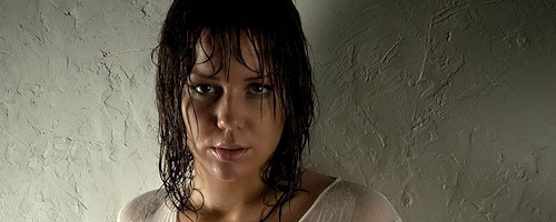 Busty Maya in wet shirt