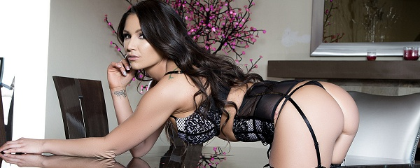 Candace Leilani in black stockings