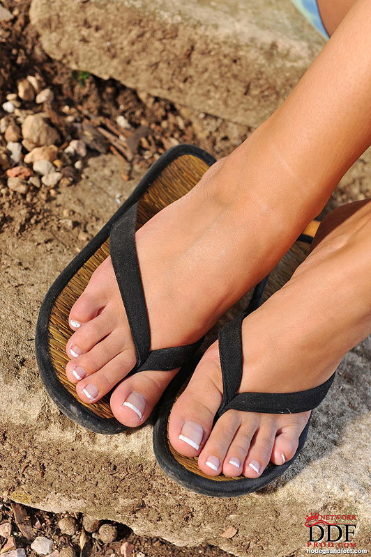 Female pornstar in flip flops