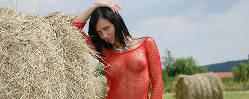 Carie in red fishnet
