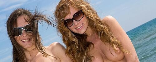 Carmen Gemini & Veronika Vesela on the beach
