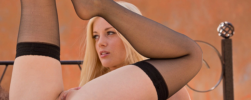 Charlotte Stokely in stockings