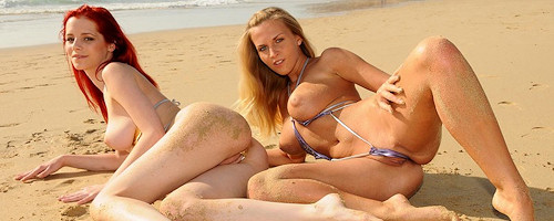 Chikita and Ariel on the beach
