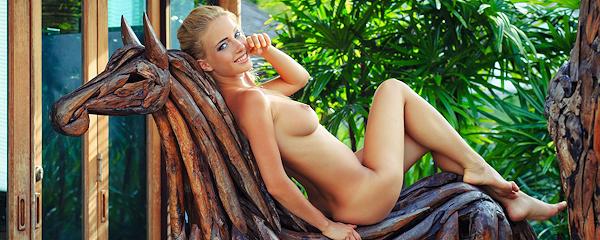 Danica on wooden horse