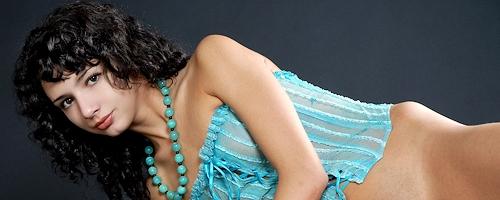Dinara in blue corset