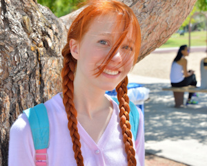 Nude Redhead pigtails