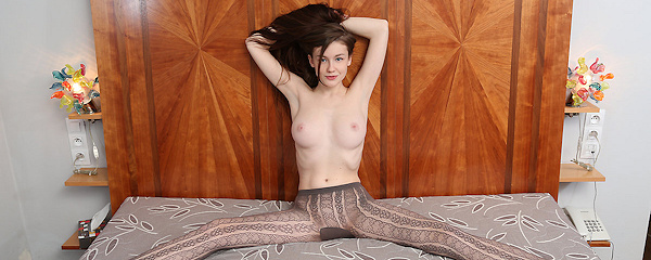 Emily Bloom in brown tights