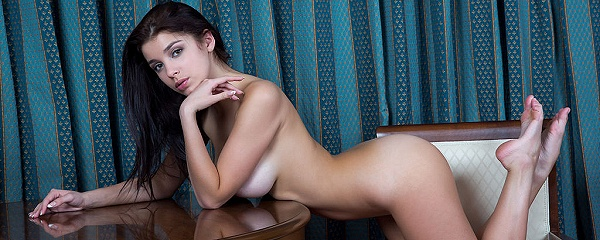 Evita Lima naked at the table