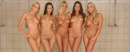 Six girls in the shower