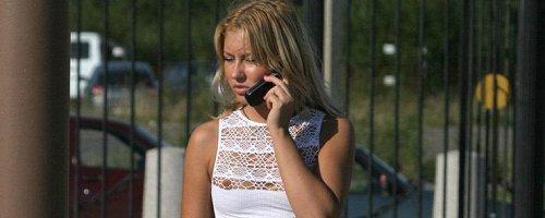 Girl in white fishnet blouse