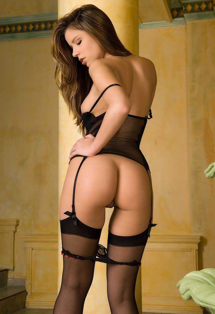 nude girls in black stockings