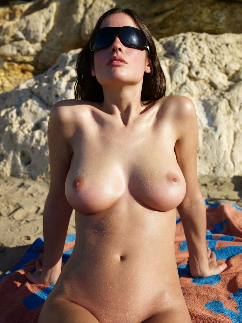 Hot topless girl licking