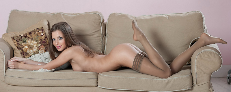 Giulia in brown stocking