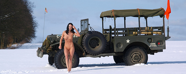 Gwen in military jeep