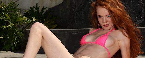 Heather Carolin in pink bikini