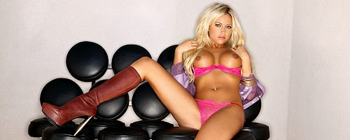 Heather Jo Hughes in pink lingerie
