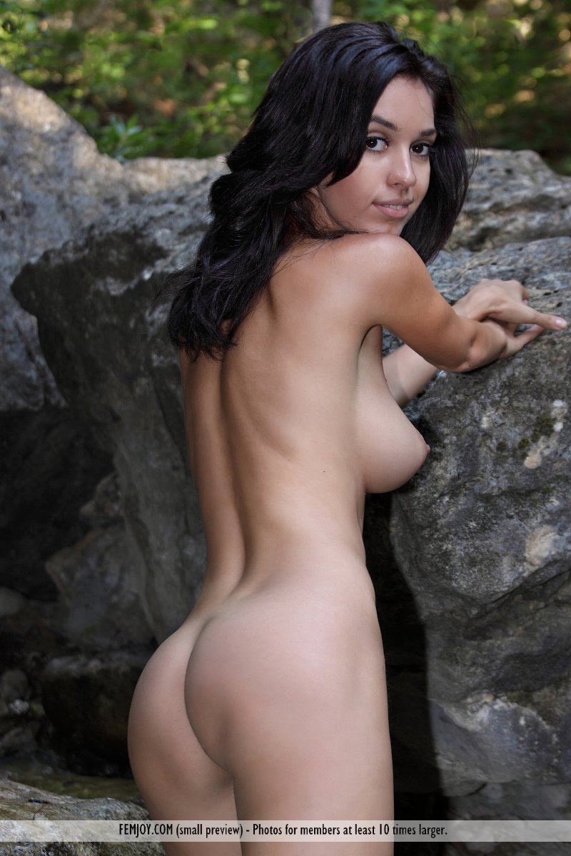 naked asian girl in waterfall
