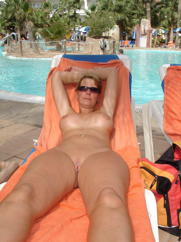 hot mom sunbathing