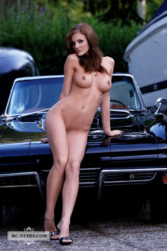 naked woman on a porsche