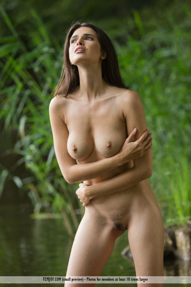 nude women in a lake