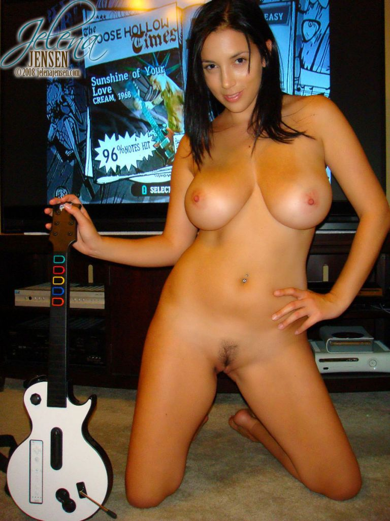 sexy girl naked with guitar