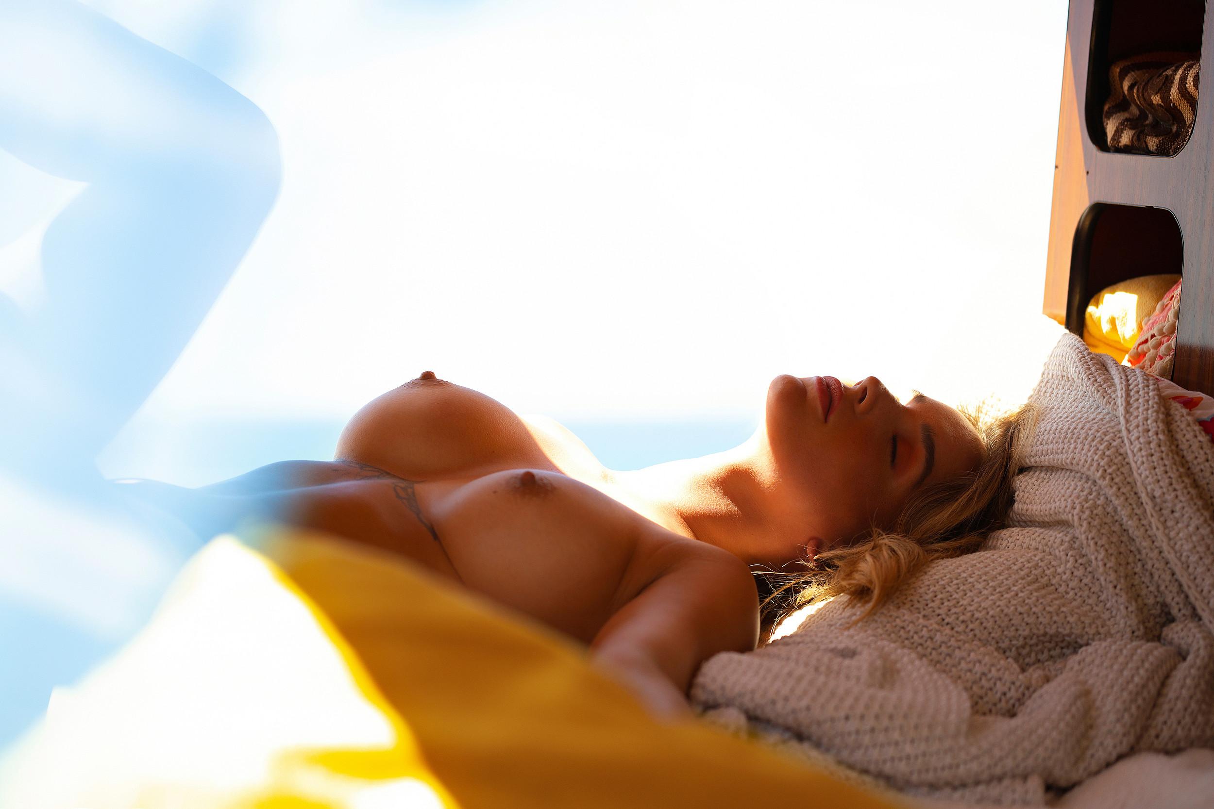 julia-rommelt-naked-tattoos-camper-seaside-december-2020-germany-playboy-11