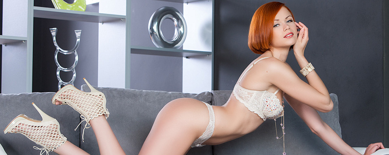 Kamila Hermanova in white lingerie