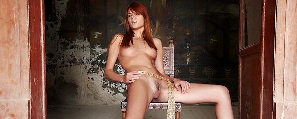 Kamila posing on the chair