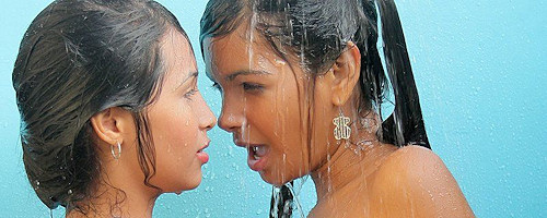 Karla Spice and her girlfriend getting wet together