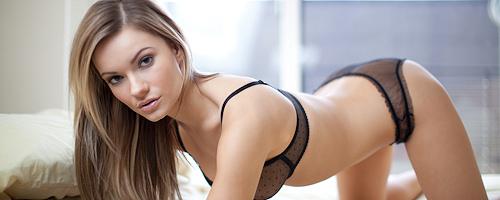 Katie Carroll in black lingerie