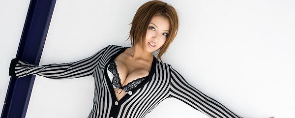 Kazuki Asou in striped cardigan