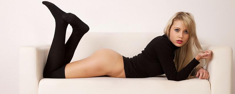 Laura – Black over knee socks